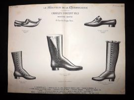 Le Moniteur de la Cordonnerie 1889 Rare Antique Shoe Design Print 29